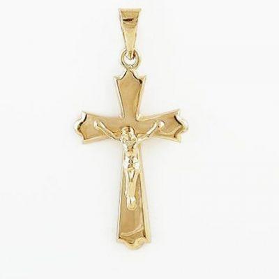 Cruz Cristo Oro Amarillo 18K Lisa