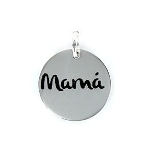 """Colgante """"Mamá"""" con esmaltado negro en Plata"""