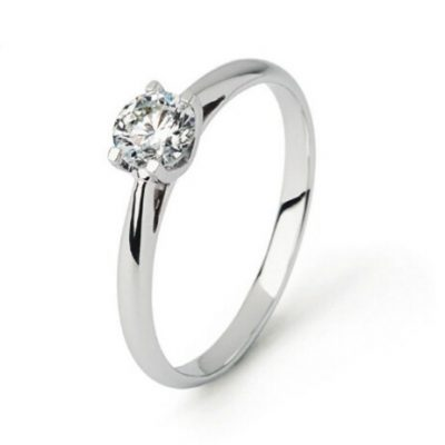 Solitario de oro blanco con diamante