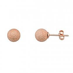 Pendientes Bola Diamantado Plata Rosa