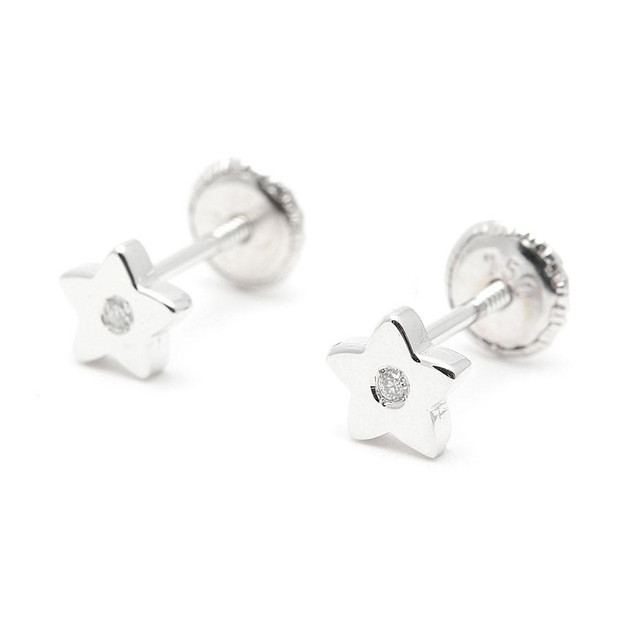a9c81cc654de Pendientes Estrella Diamante Oro Blanco 18K
