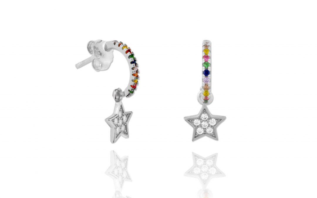 Aros Estrella Arcoiris Plata