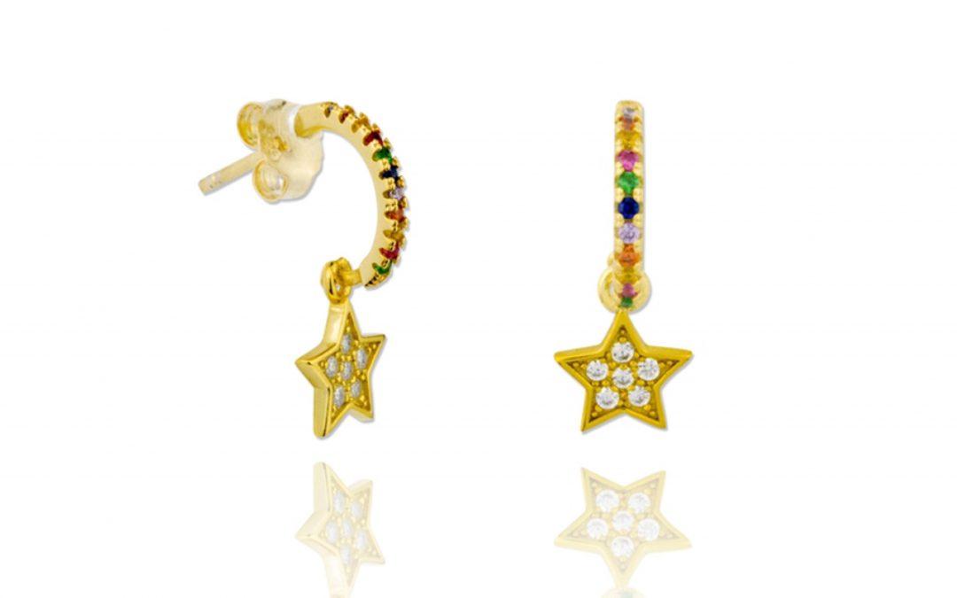 Aros Estrella Arcoiris Plata Dorada