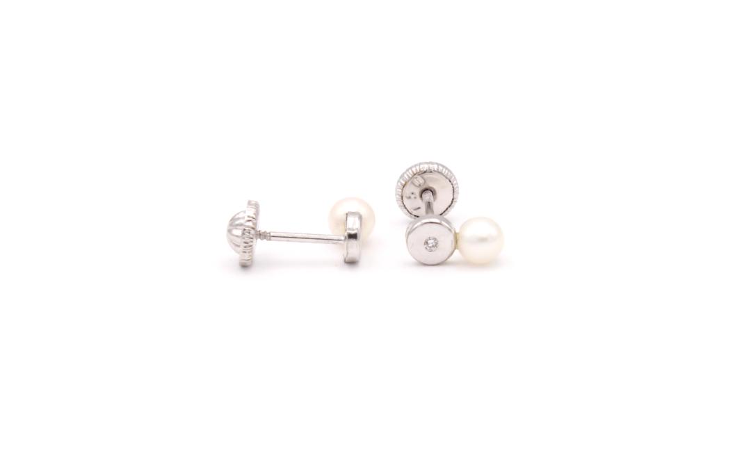 Pendientes Circular Perla Diamantes Oro 18K