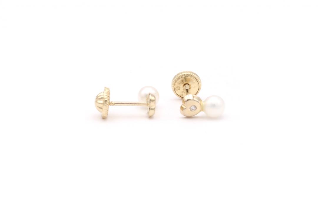Pendientes Corazón Perla Diamantes Oro 18K