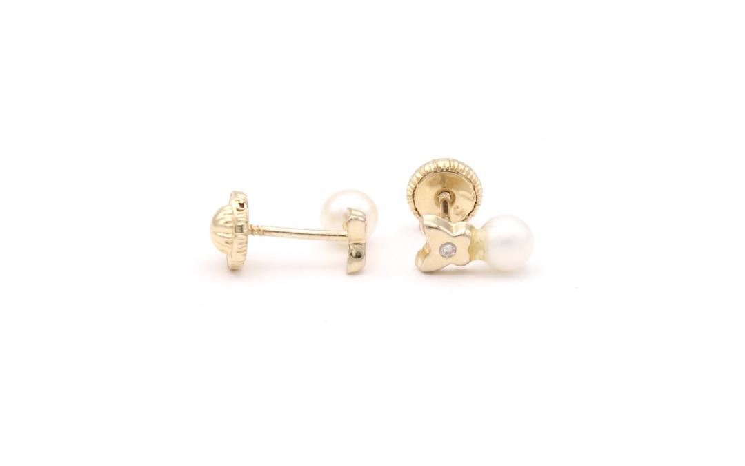 Pendientes Mariposa Perla Diamantes Oro 18K