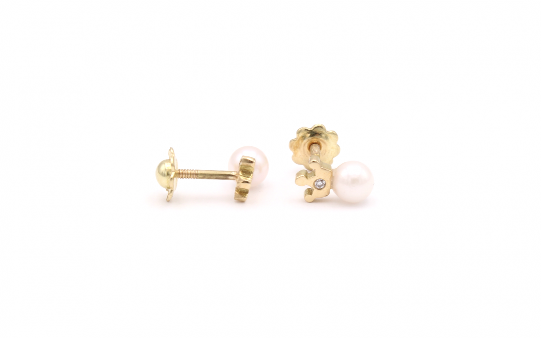 Pendientes Crown Perla Diamantes Oro 18K